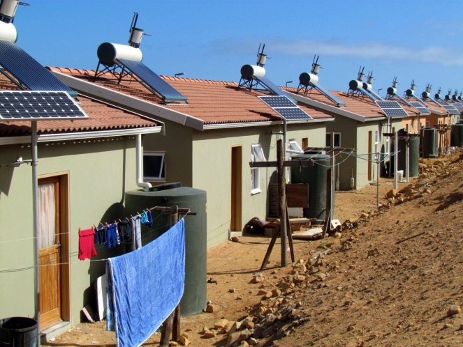 Houses fitted with alternative technologies in the Kleinmond Housing Scheme.