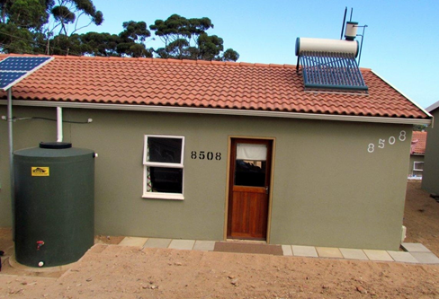 House fitted with alternative technologies in the Kleinmond Housing Scheme