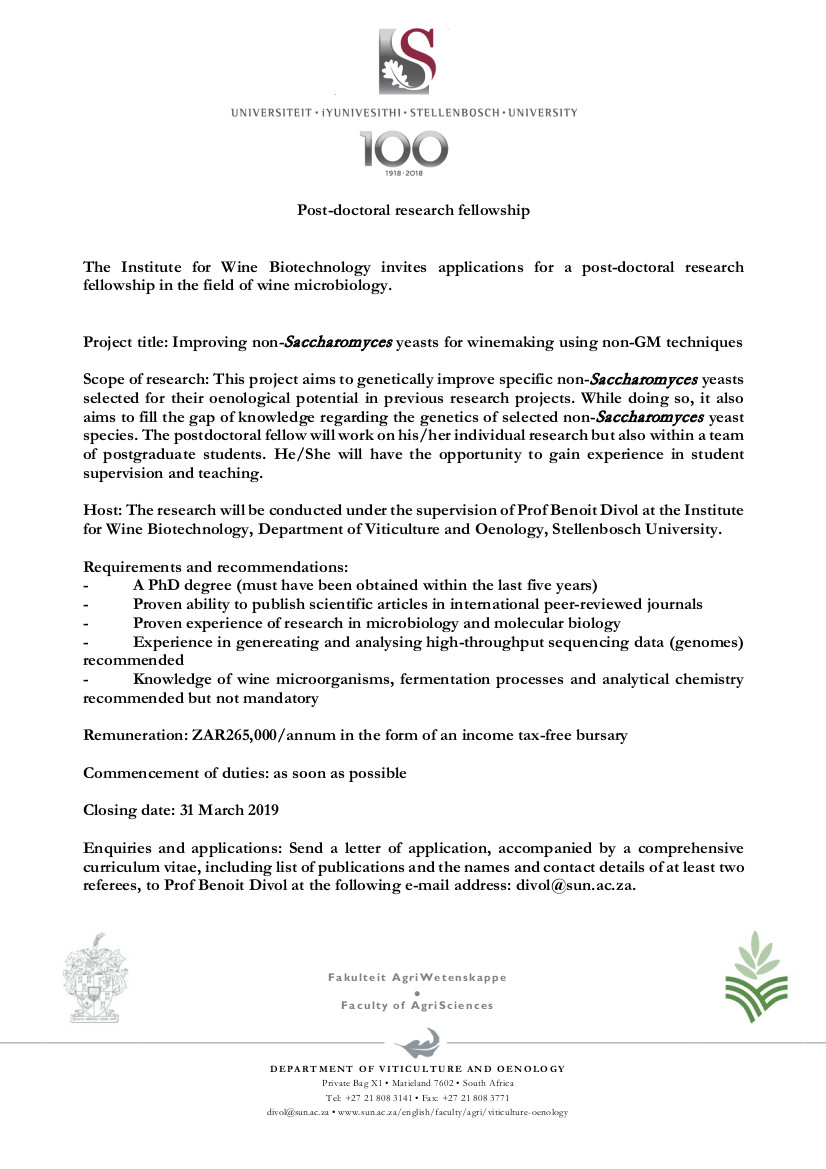 Advert postdoc 2019